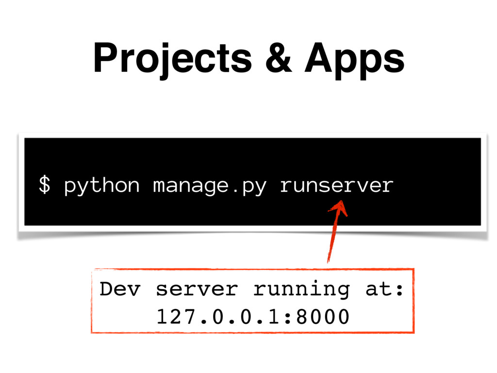 Projects & Apps $ python manage.py runserver De...