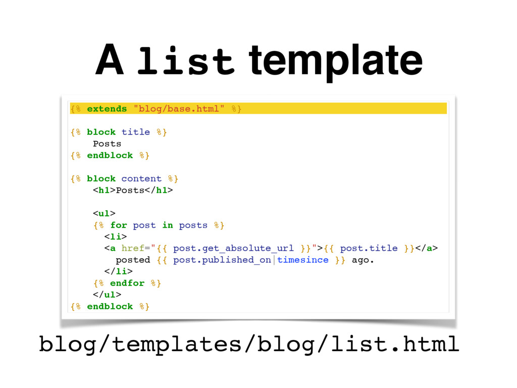 """A list template {% extends """"blog/base.html"""" %} ..."""