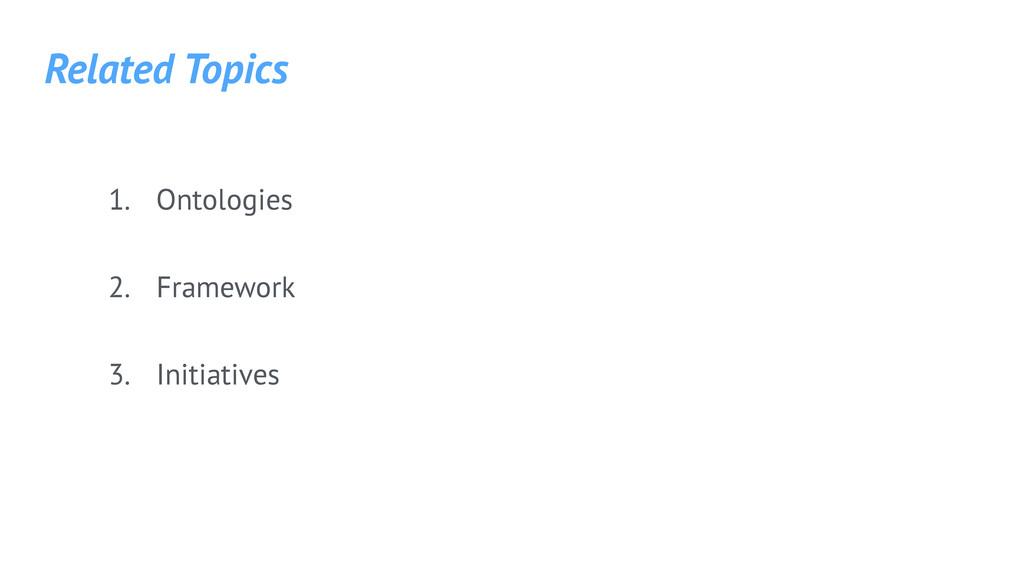 1. Ontologies 2. Framework 3. Initiatives Relat...