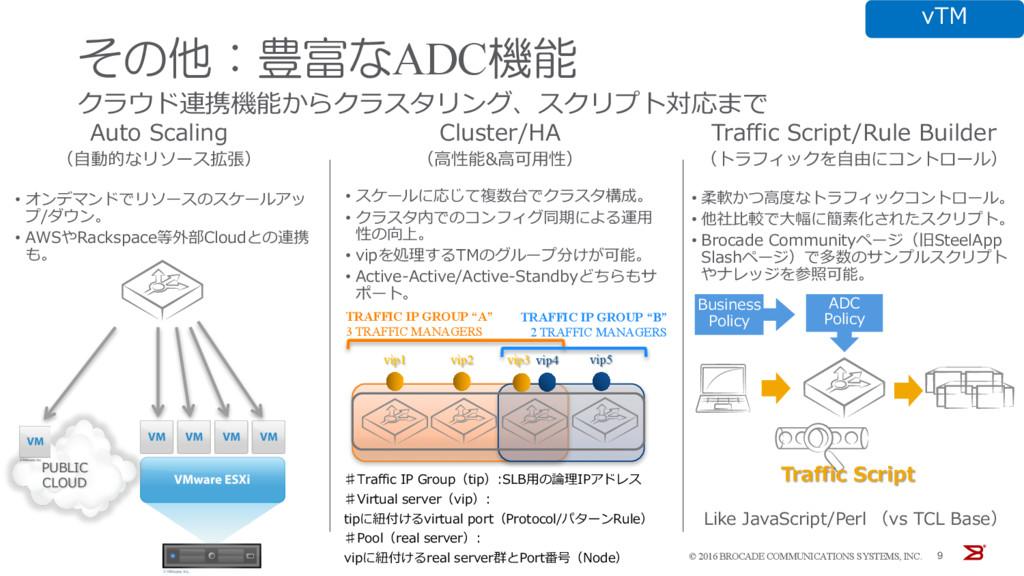 クラウド連携機能からクラスタリング、スクリプト対応まで 9 Auto Scaling (⾃動的...