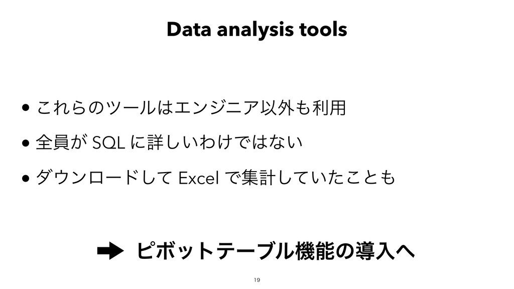 Data analysis tools ͜ΕΒͷπʔϧΤϯδχΞҎ֎ར༻ શһ͕ S...