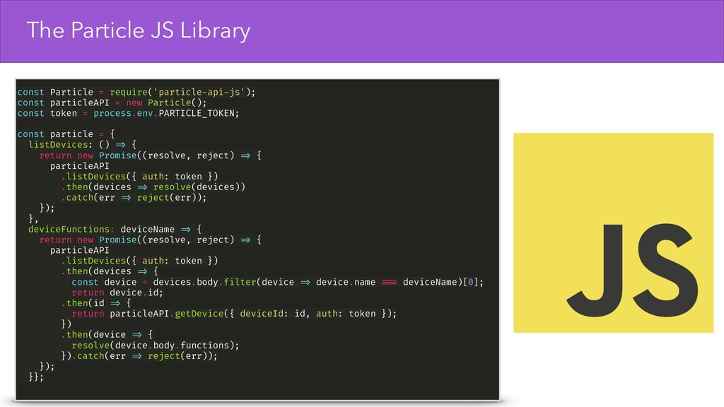 The Particle JS Library const Particle = requir...