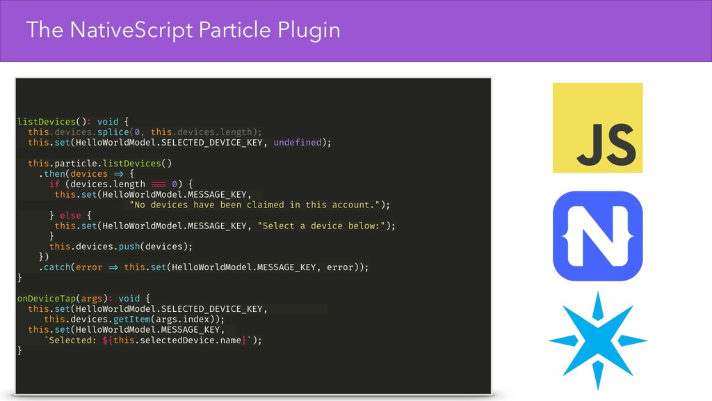 The NativeScript Particle Plugin listDevices():...
