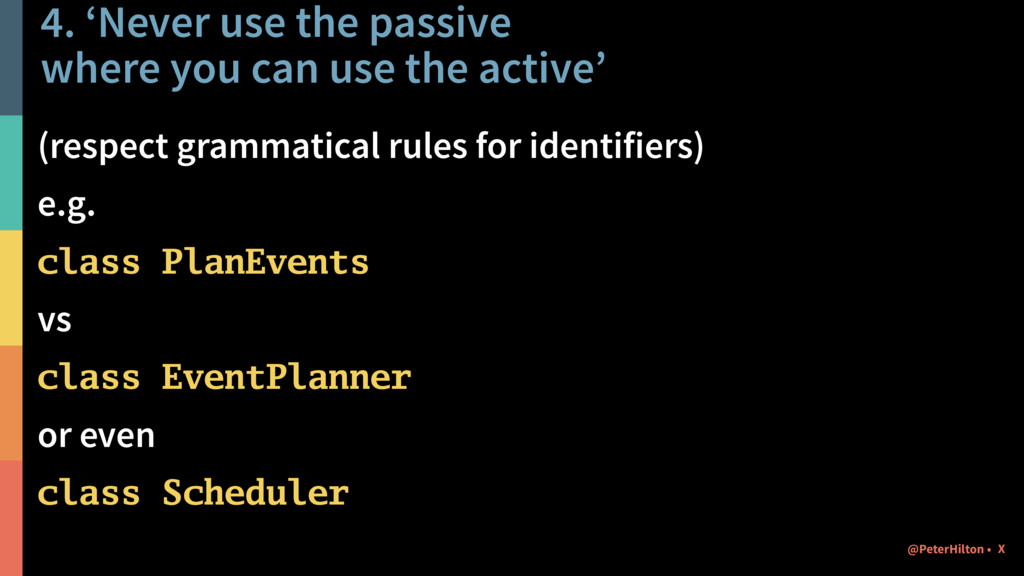 4. 'Never use the passive 