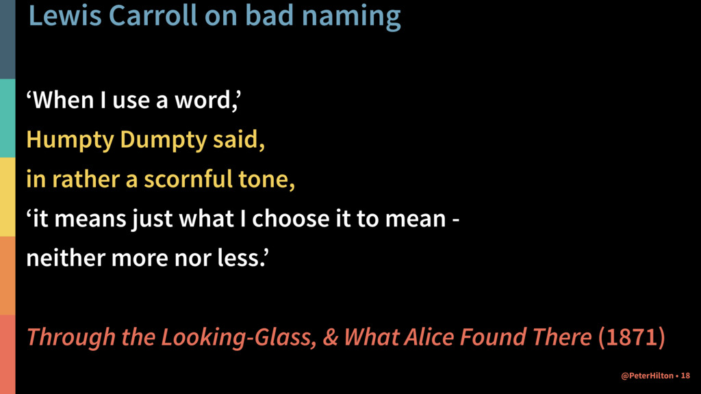 Lewis Carroll on bad naming 'When I use a word,...