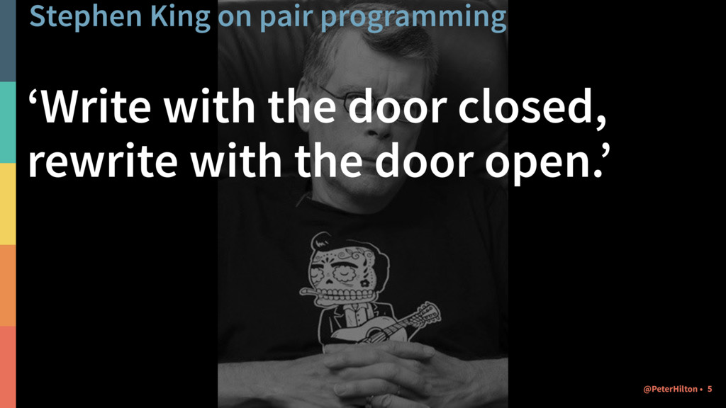 Stephen King on pair programming 'Write with th...