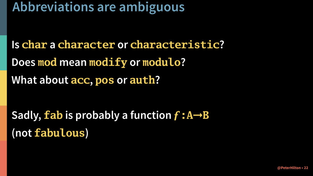 Abbreviations are ambiguous Is char a character...