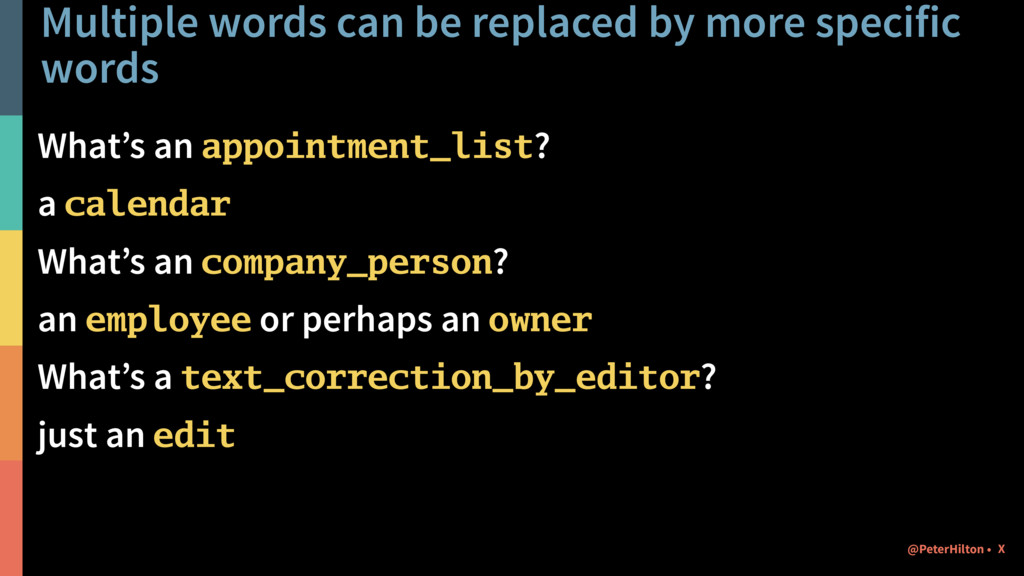 Multiple words can be replaced by more specific...