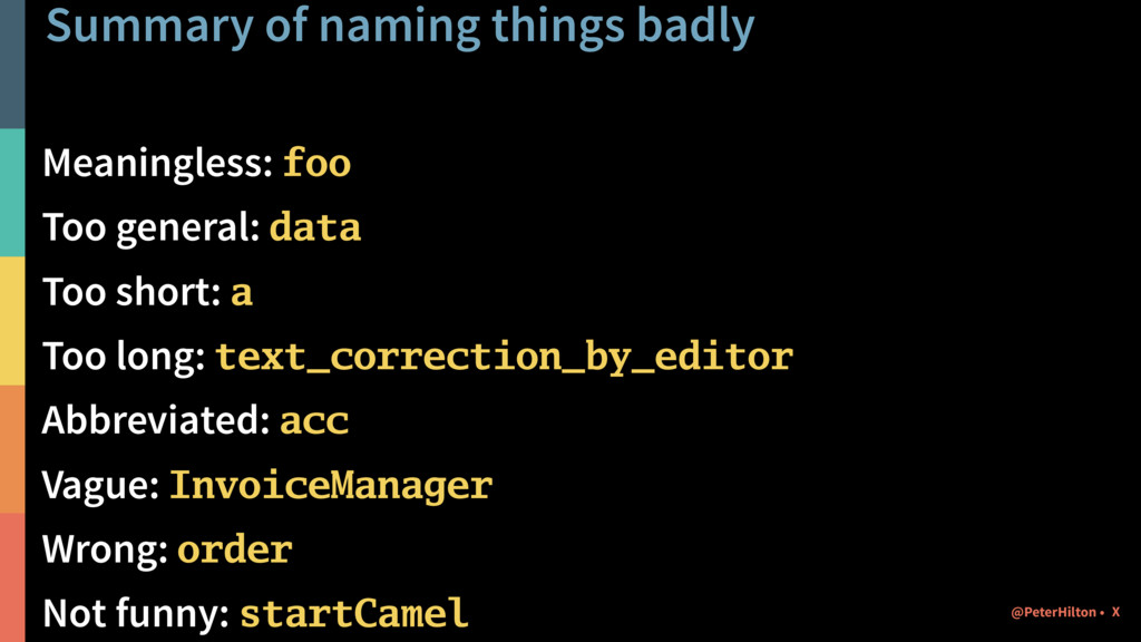 Summary of naming things badly Meaningless: foo...