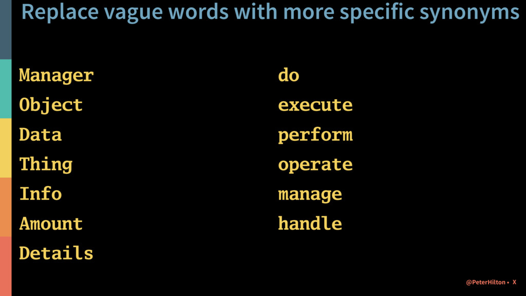 Replace vague words with more specific synonyms...