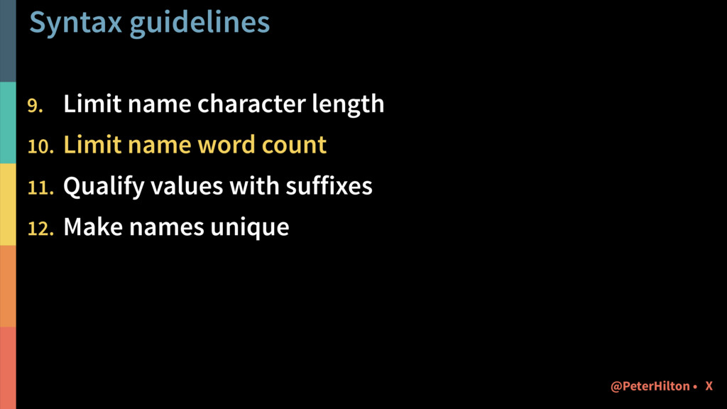 Syntax guidelines 9. Limit name character lengt...