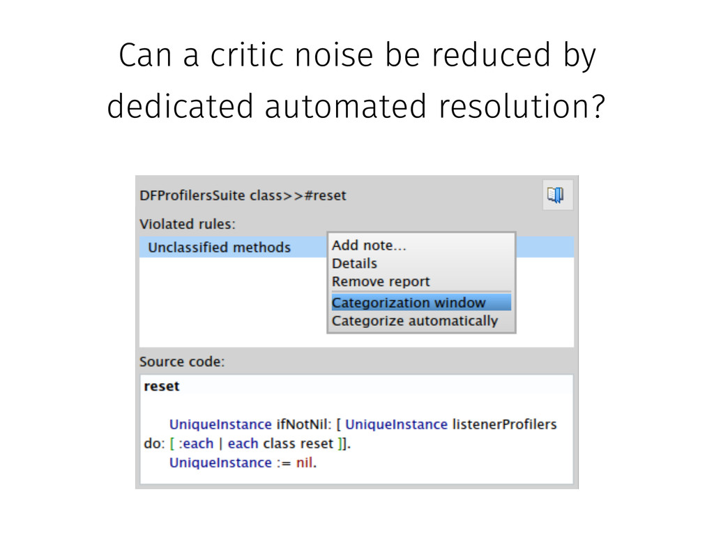 Can a critic noise be reduced by dedicated auto...
