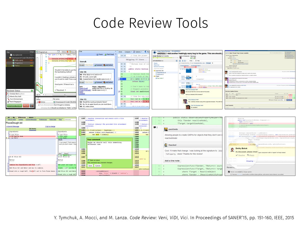 Code Review Tools Y. Tymchuk, A. Mocci, and M. ...