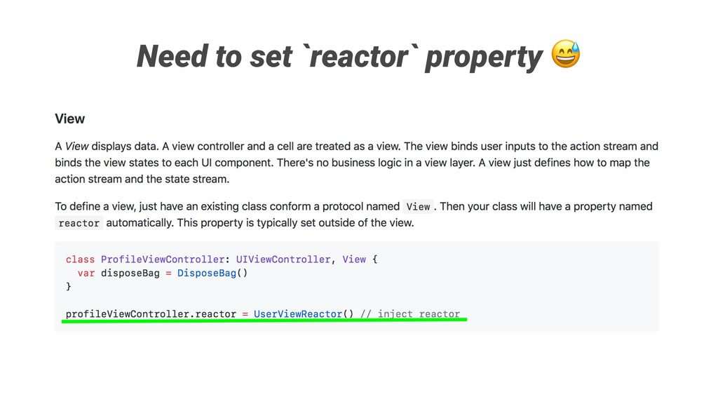 Need to set `reactor` property