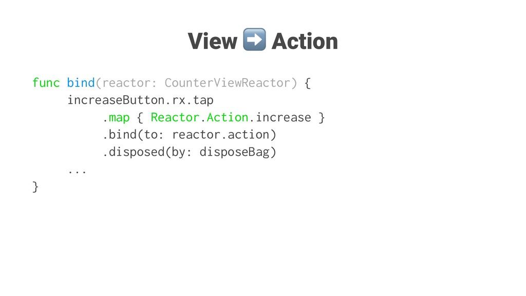 View ➡ Action func bind(reactor: CounterViewRea...