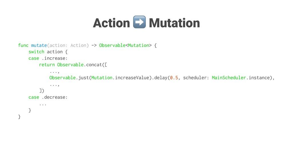 Action ➡ Mutation func mutate(action: Action) -...