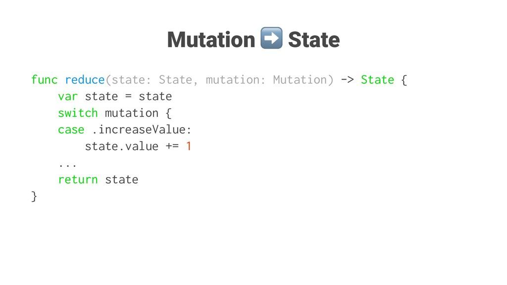 Mutation State func reduce(state: State, mutati...