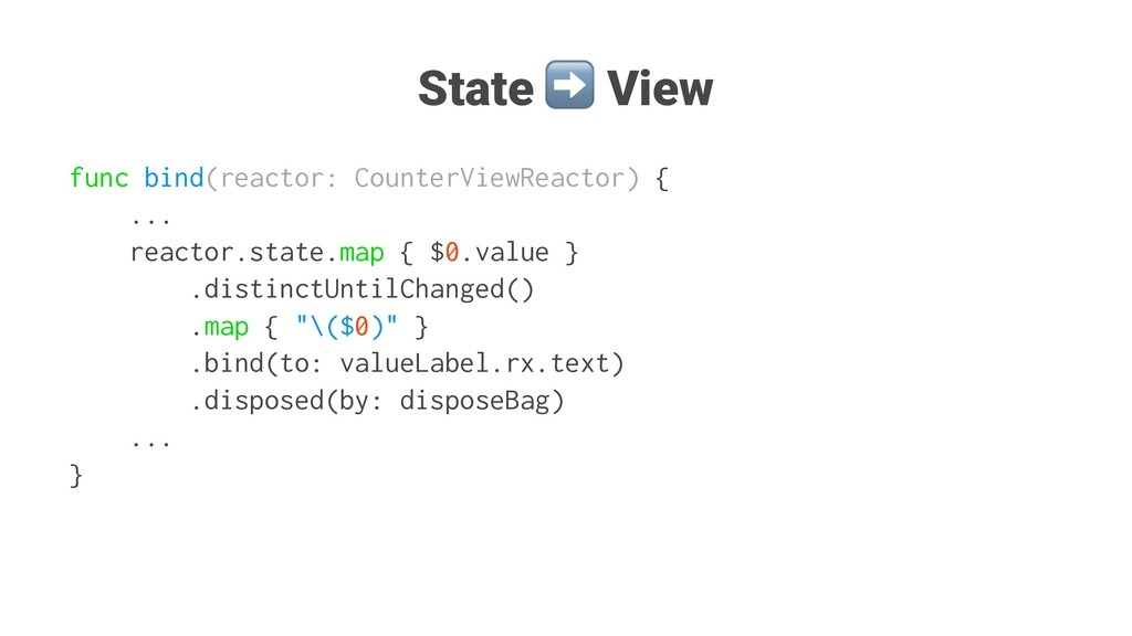 State ➡ View func bind(reactor: CounterViewReac...