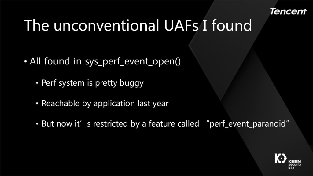The unconventional UAFs I found • All found in ...