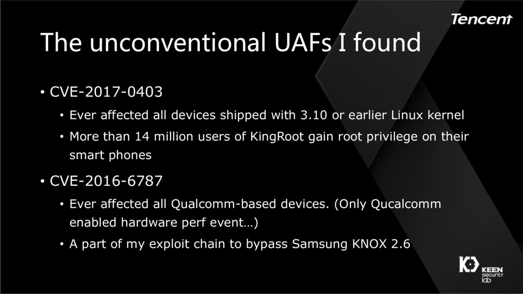 The unconventional UAFs I found • CVE-2017-0403...