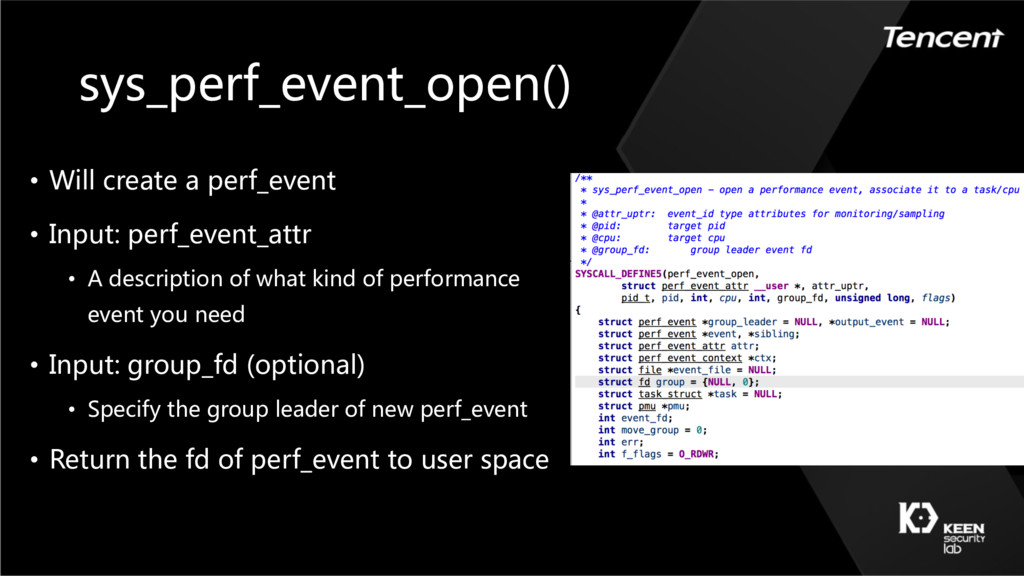 sys_perf_event_open() • Will create a perf_even...