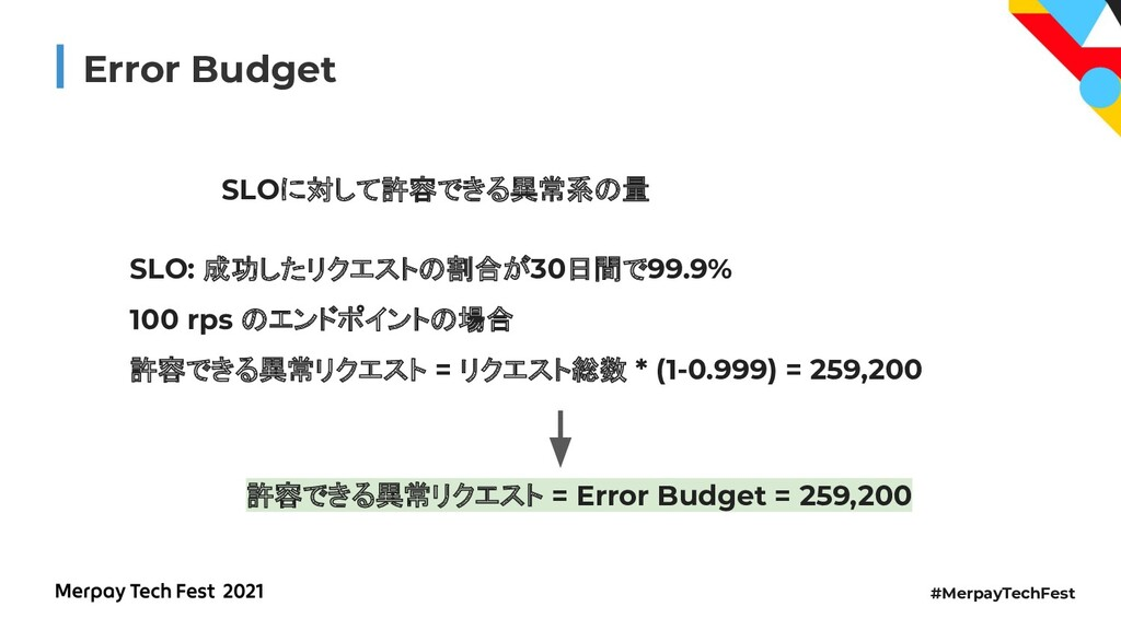 #MerpayTechFest Error Budget SLOに対して許容できる異常系の量 ...