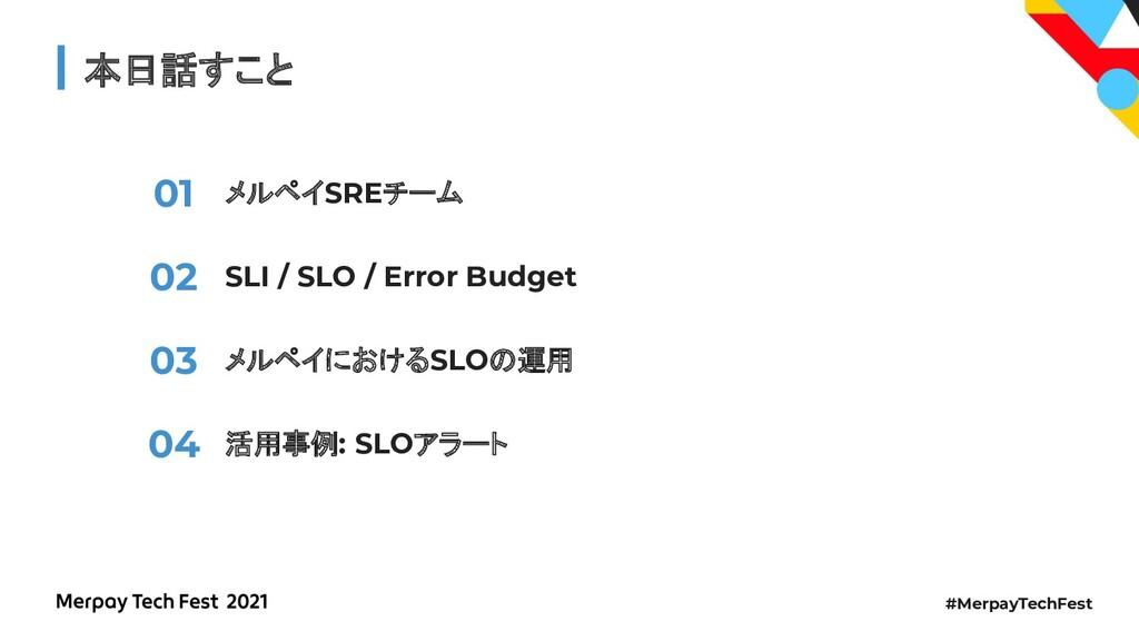 #MerpayTechFest 本日話すこと メルペイSREチーム SLI / SLO / E...