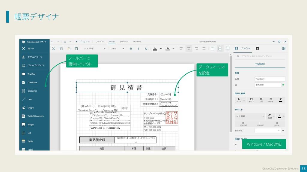 帳票デザイナ 38 GrapeCity Developer Solutions データフィール...
