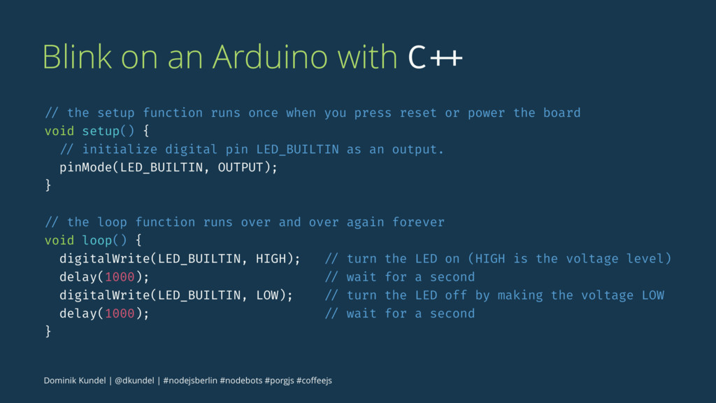 Blink on an Arduino with C ++ // the setup func...