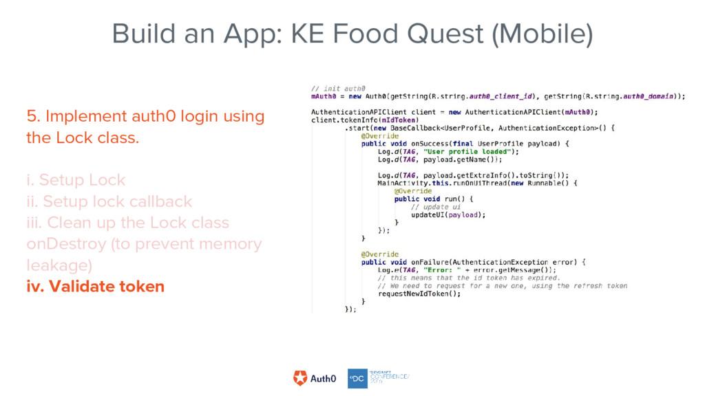 Build an App: KE Food Quest (Mobile) 5. Impleme...