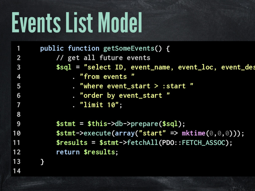 Events List Model 1 public function getSomeEven...