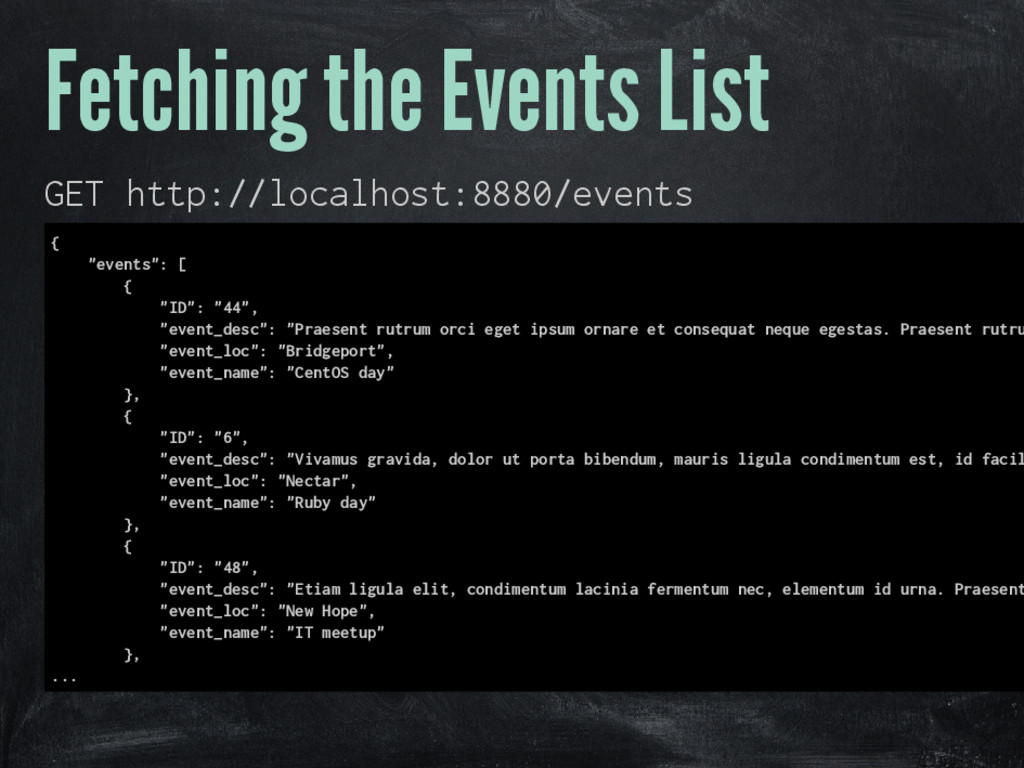 Fetching the Events List GET http://localhost:8...