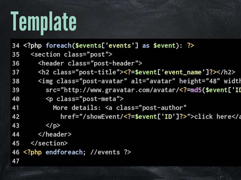 Template 34 <?php foreach($events['events'] as ...
