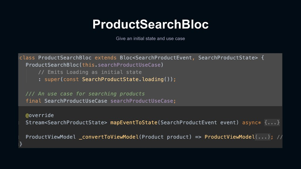 ProductSearchBloc Give an initial state and use...