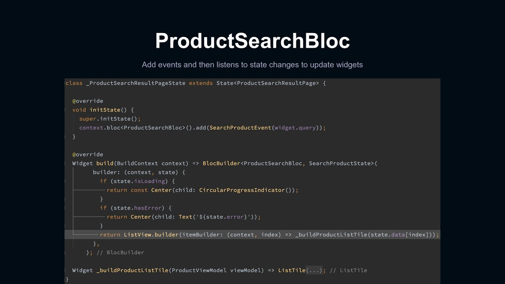 ProductSearchBloc Add events and then listens t...