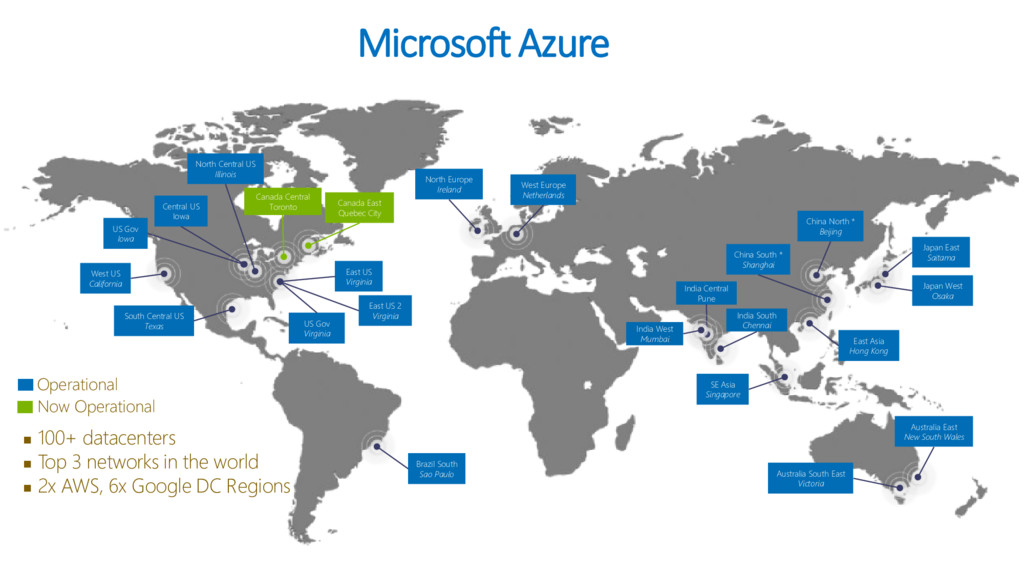 Microsoft Azure  100+ datacenters  Top 3 netw...