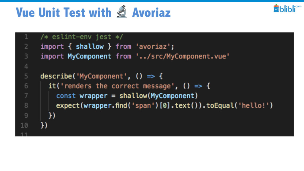 Vue Unit Test with  Avoriaz