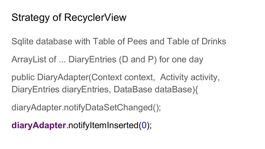 Strategy of RecyclerView Sqlite database with T...