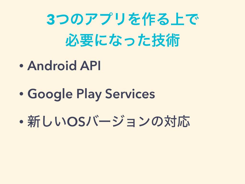 • Android API • Google Play Services • ৽͍͠OSόʔδ...