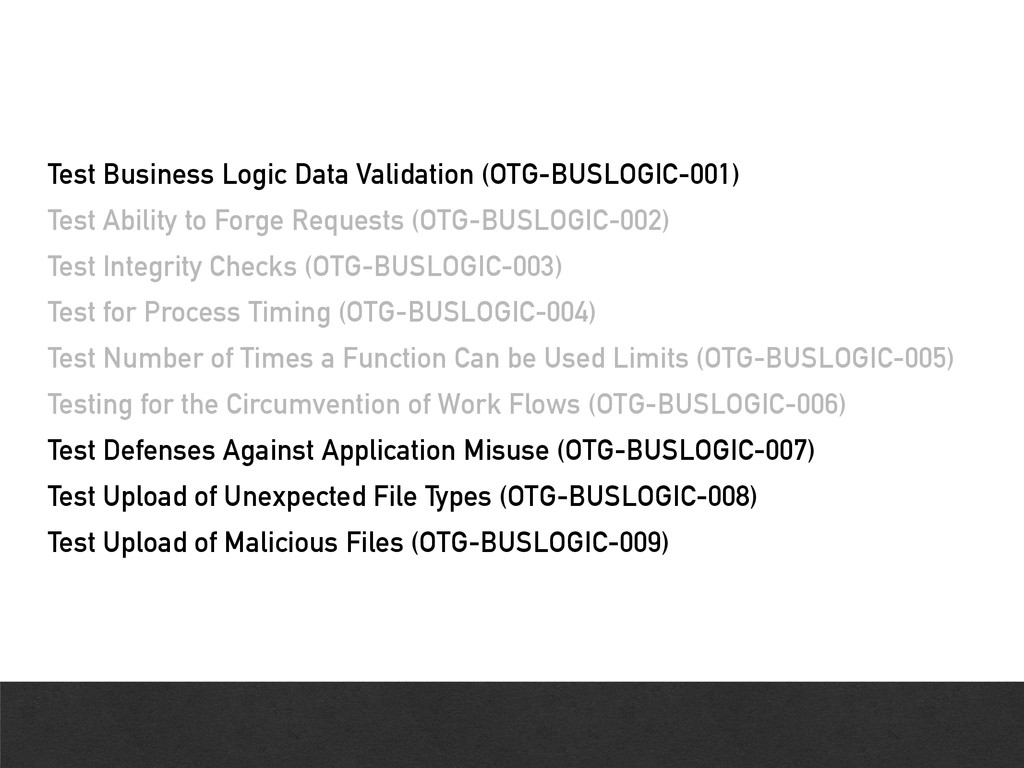 Test Business Logic Data Validation (OTG-BUSLOG...