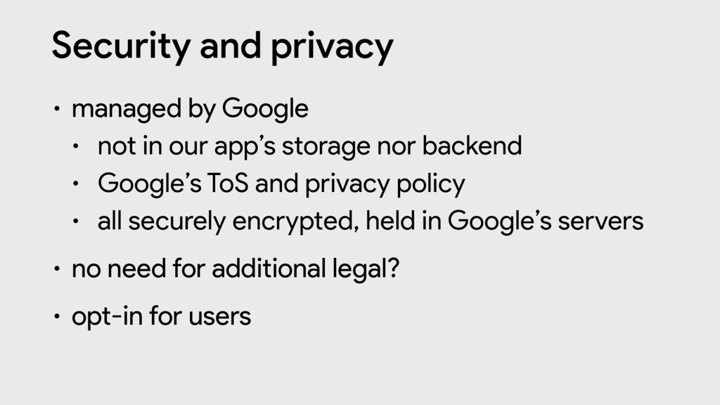 Security and privacy • managed by Google  • not...