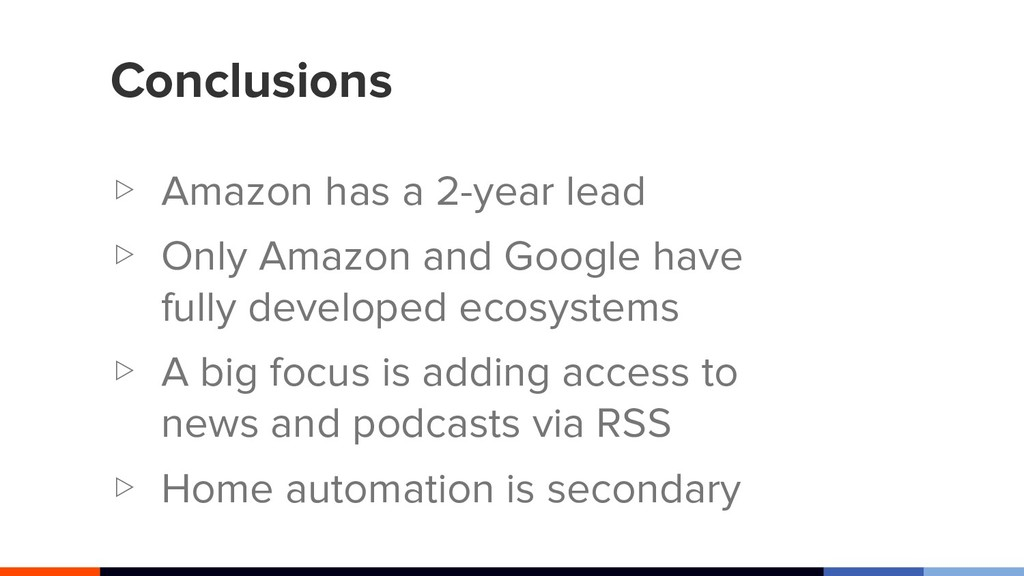 Conclusions ▷ Amazon has a 2-year lead ▷ Only A...