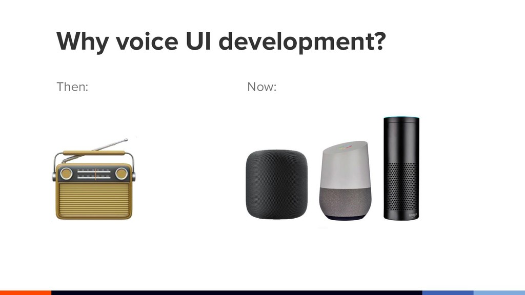 Why voice UI development? Then: Now: