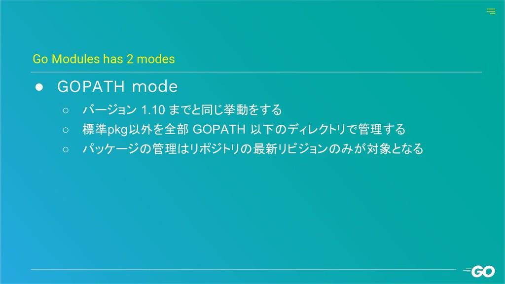 ● GOPATH mode ○ バージョン 1.10 までと同じ挙動をする ○ 標準pkg以外...