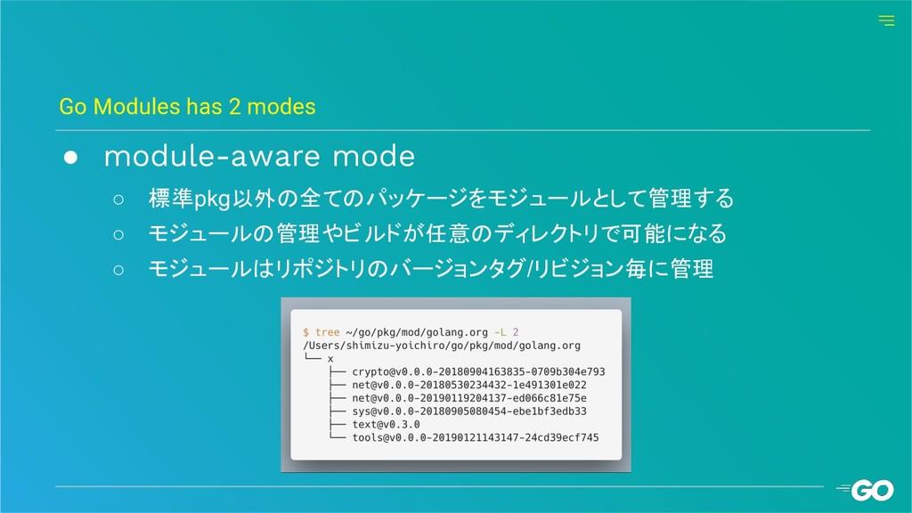 ● module-aware mode ○ 標準pkg以外の全てのパッケージをモジュールとして...