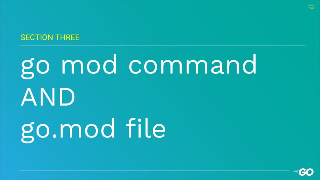 go mod command AND go.mod file SECTION THREE