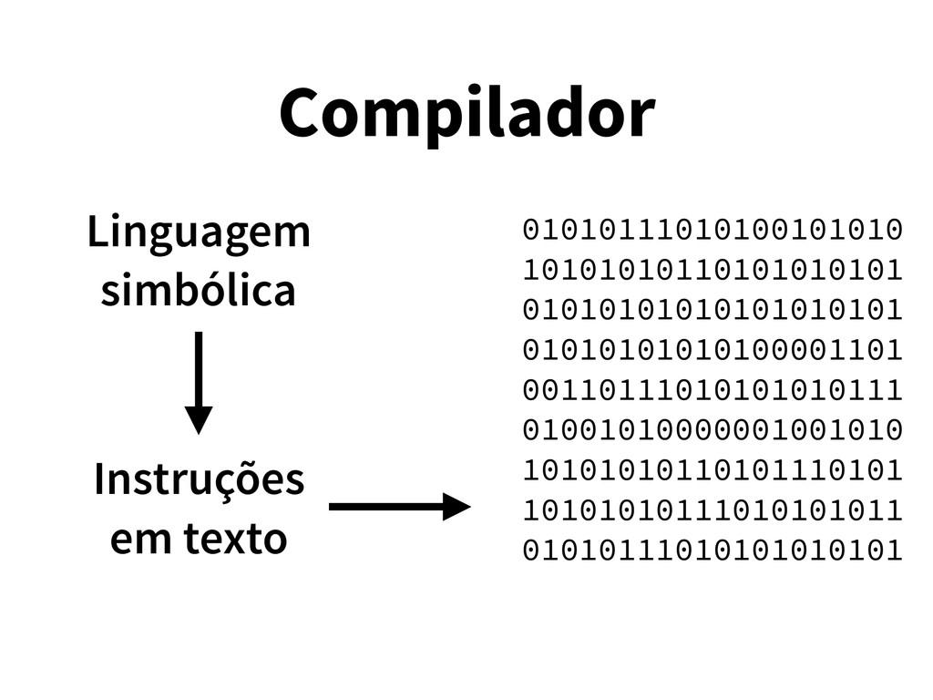 Compilador Instruções em texto 010101110101001...