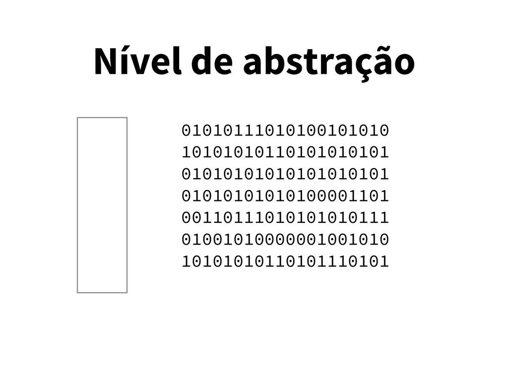 Nível de abstração 01010111010100101010 1010101...