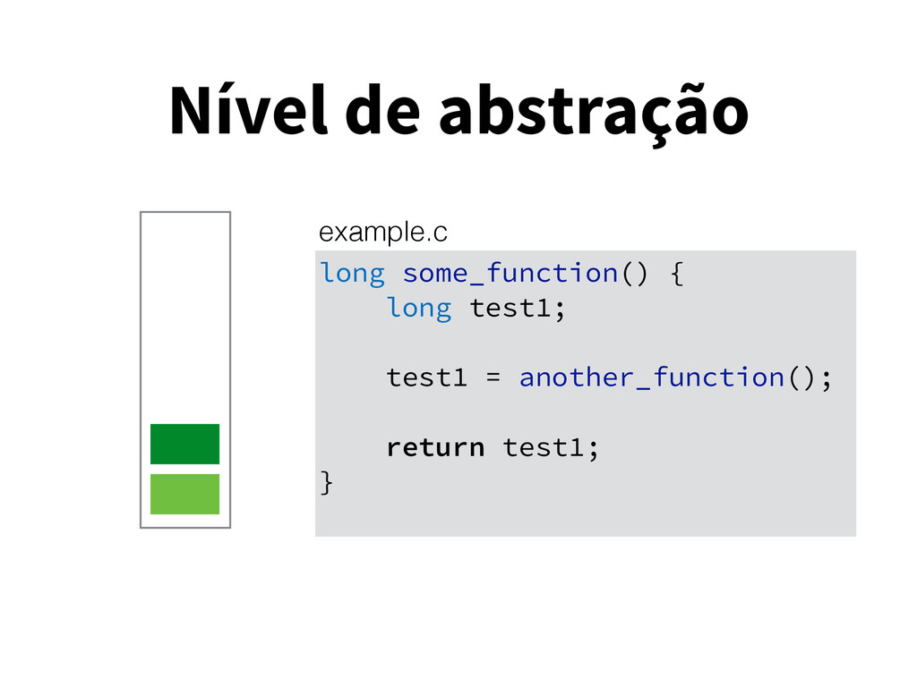 Nível de abstração long some_function() { long ...