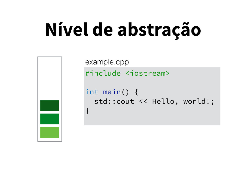 Nível de abstração #include <iostream> int main...